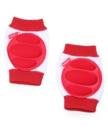 Babyhug Baby Knee & Elbow Pads - White Red