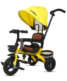 Baybee Magma 3-in-1 Smart Plug & Play Tricycle With Canopy - Yellow