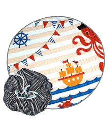 Nee & Wee Cotton Playmat Cum Drawstring Toy Storage Bag Ocean Print - Multicolour