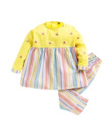 Kids Clan Flower Embroidered & Striped Full Sleeves Night Suit - Yellow & White