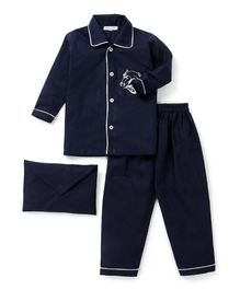 Kids Clan Horse Print Full Sleeves Night Suit With Pouch - Blue