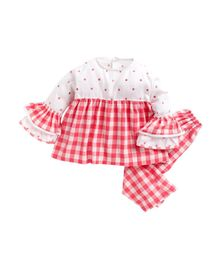 Kids Clan Polka Dot Print & Checkered Full Sleeves Night Suit - Red & White