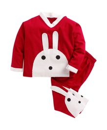 Kids Clan Rabbit Patch Full Sleeves Night Suit - Red & White