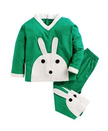 Kids Clan Rabbit Patch Full Sleeves Night Suit - Green & White