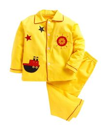 Kids Clan Ship Patch Full Sleeves Night Suit - Yellow