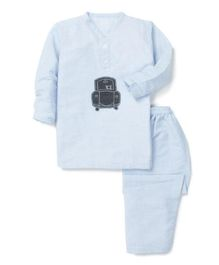 Kids Clan Striped Full Sleeves Night Suit - Blue