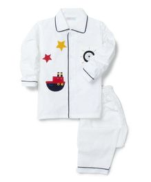 Kids Clan Ship Patch Full Sleeves Night Suit  - White