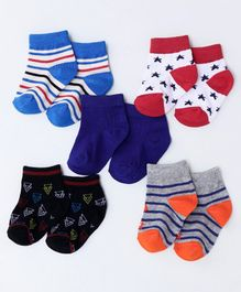 Cute Walk by Babyhug Anti Bacterial Ankle Length Socks Pack of 5 - Multicolour