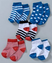 Cute Walk by Babyhug Anti Bacterial Ankle Length Socks Pack of 5 - Blue Red White