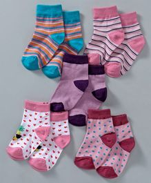 Cute Walk by Babyhug Anti Bacterial Ankle Length Non Terry Socks Pack of 5 - Multicolor