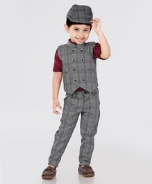 Dapper Dudes Full Sleeves Checks 3 Piece Party Suit With Cap - Grey