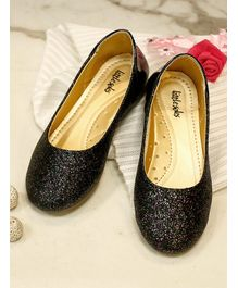 Little Soles Glitter Finish Mary Janes - Black