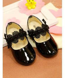 Little Soles Flower Strap Velcro Closure Sandals - Black
