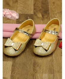 Little Soles Bow Design Velcro Closure Sandals - Golden