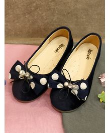 Little Soles Polka Dot Print Bow Design Mary Janes - Navy Blue