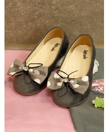 Little Soles Polka Dot Print Bow Design Mary Janes - Grey