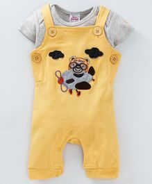 Whaou Half Sleeve Animal Design Dungaree With Tee - Grey & Yellow