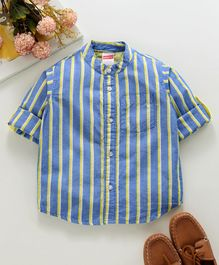 Babyhug Full Sleeves Mandarin Collar Shirt With Stripes - Blue