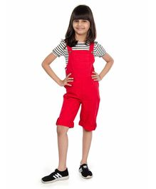 Olele Solid Sleeveless Dungaree - Red
