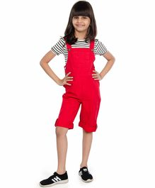 Olele Striped Half Sleeves T-Shirt & Dungaree Set - Red