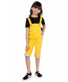 Olele Solid Half Sleeves T-Shirt & Dungaree Set - Yellow