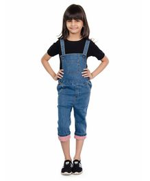 Olele Solid Dungaree With Front Pocket & Half Sleeves T-Shirt Set - Blue