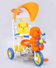 Babyhug Bruno Tricycle With Canopy & Rocking Function - Orange