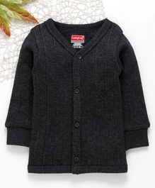 Babyhug Full Sleeves Front Open Thermal Vest - Dark Grey
