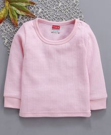 Babyhug Full Sleeves Thermal Vest With Shoulder Buttons - Pink