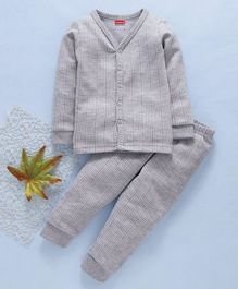 Babyhug Full Sleeves Thermal Vest And Bottoms - Light Grey