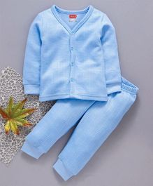 Babyhug Full Sleeves Thermal Vest And Bottoms - Sky Blue