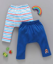 Babyhug Cotton Ankle Length Diaper Leggings Solid & Striped Pack of 2 - Blue