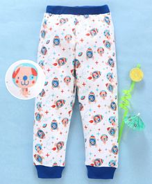 Babyhug Cotton Full Length Printed Lounge Pant - Blue
