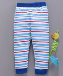 Babyhug Cotton Full Length Striped Lounge Pant - Blue