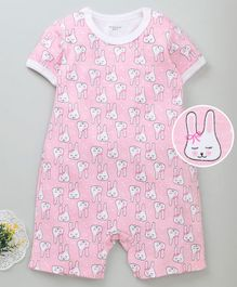 Mother Kids Half Sleeves Romper Bunny Print - Pink