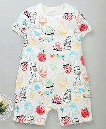Mother Kids Half Sleeves Romper House Print - White