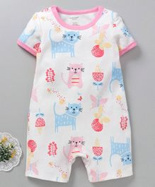 Mother Kids Half Sleeves Romper Cat Print - White