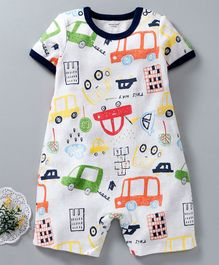 Mother Kids Half Sleeves Romper Car Print - White
