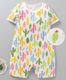 Mother Kids Half Sleeves Romper Cactus Print - Green
