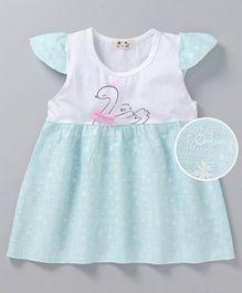 cd201cf6ca5f2 Kookie Kids Cap Sleeves Frock Floral   Duck Print - White Light Blue