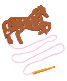 Alpaks Lacing Horse Wooden Toy ( Lacing Colour May Vary)