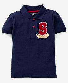 Stupid Cupid Logo Applique Half Sleeves Polo Tee - Navy