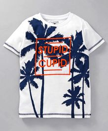 Stupid Cupid Tree Print Half Sleeves Tee - White