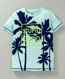 Stupid Cupid Tree Print Half Sleeves Tee - Lime Green