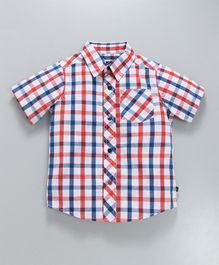 c5c8560f654 Kiddopanti Checked Half Sleeves Shirt - Blue   Red