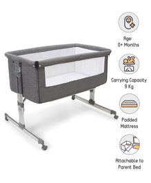 Babyhug Delight Bedside Bassinet - Grey
