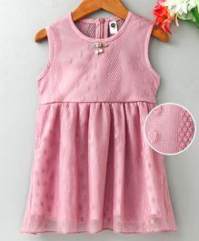 Lekeer Kids Sleeveless Party Wear Frock - Pink
