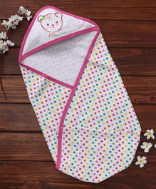 Pink Rabbit Hooded Wrapper Polka Dot & Kitty Print - White Pink