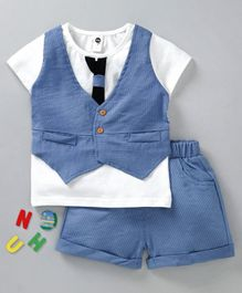 Lekeer Kids Half Sleeves Party Wear Tee With Striped Shorts - Blue