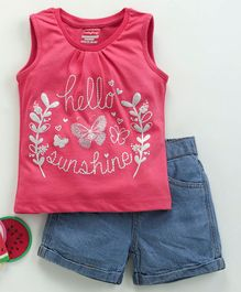 Babyhug Sleeveless Top & Denim Shorts Sunshine Print - Pink Blue